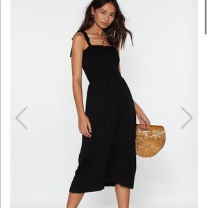 Forget What You Shirred Tie Midi Dress